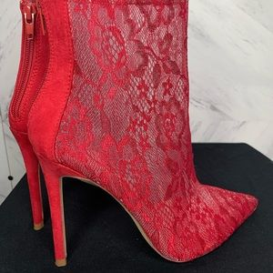 Red Lace booties